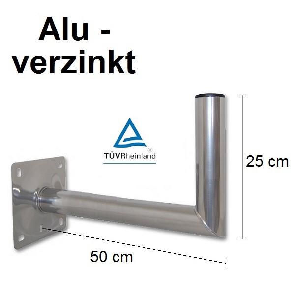 50 cm wandhalter mast wandwinkel f r sat sch ssel spiegel stahl alu verzinkt t v ebay. Black Bedroom Furniture Sets. Home Design Ideas